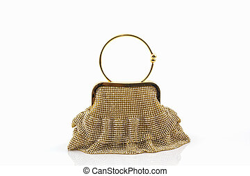 Gold clutch. - Gold clutch on a white background.
