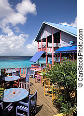 bonaire - Restaurant in caribbean colors with ocean view