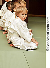 aikido boys - boys in sport hall, they are waitng for...