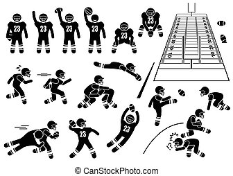 American Football Player Actions - A set of human pictogram...