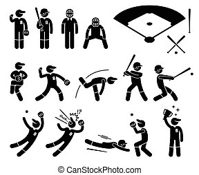 Baseball Player Actions Poses - A set of human pictogram...