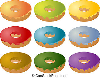 Colorful frosted icing donuts