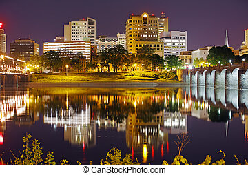 Harrisburg Pennsylvania at Night - A view of Harrisburg,...