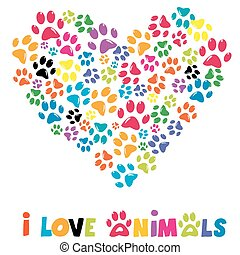 Colorful heart with animals footprints and text I love...