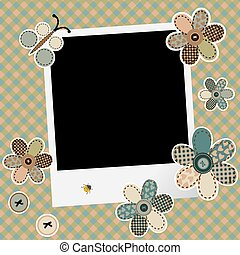 Vintage design background for scrapbook with photo frame