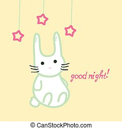 Cute bunny, good night card, stock vector illustration