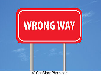wrong way sign with sky in the background