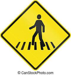 peão, cruzamento, em, Chile,