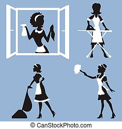 Vector set - silhouettes girl clean - Vector illustration of...