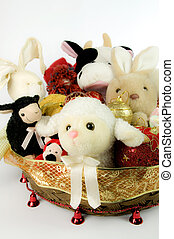 Toys stuffed into Christmas baskets