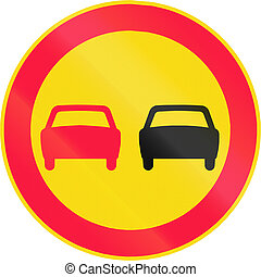 No Overtaking in Finland - Road sign 351 in Finland - No...
