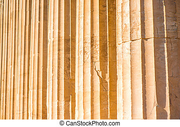 Ionic column background in Acropolis in Greece