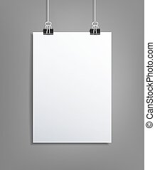 Vector background with a piece of paper hanging on the wall (element for design, template)
