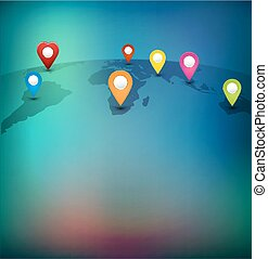 Vector background for business with pointers on the world map