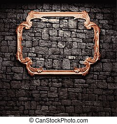 vector illuminated stone wall and frame