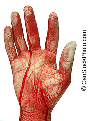 Bloody hand - Greepy halloween article isolated on white...