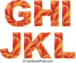 Vintage capital letters with herbal autumn seasonal ornament. Fiery font with floral pattern, G, H, I, J, K, L.