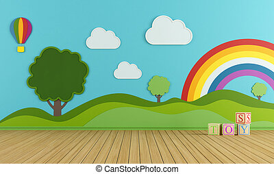 colorful playroom - Colorful playroom with decorations on...