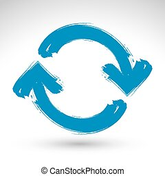 Hand-painted blue update sign isolated on white background,...