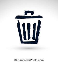 Hand-painted simple vector trash can icon isolated on white background, metallic dustbin symbol, created with real hand drawn ink brush scanned and vectorized.