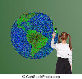 Schoolgirl drawning globe