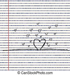 Love heart design on lined paper - Illustration of a love...