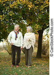 Senior couple in autumn park - Happy senior couple relaxing...