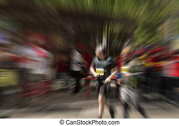 Abstract background. Marathon with the participation of...