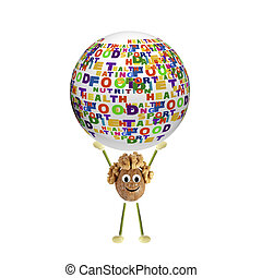 Little funny nut holds the sphere with the words: sports,...