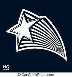 Astronomy conceptual illustration, pentagonal comet sta, vector celestial object with decorative comet tail. Eps8 superstar icon. Armed forces design element.