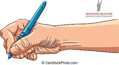 Hand writing with pen, detailed vector illustration.