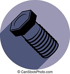 Three-dimensional bolt, spare part used in manufacturing, building and carpentry. High quality vector illustration of a screw.