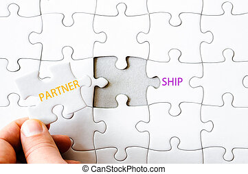 Missing jigsaw puzzle piece completing word PARTNERSHIP -...