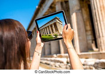 Hephaistos, mujer, templo, El fotografiar,  Agora