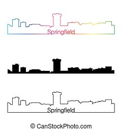 Springfield MO skyline linear style with rainbow -...