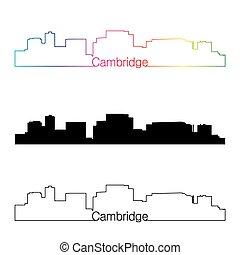 Cambridge MA skyline linear style with rainbow - Cambridge...