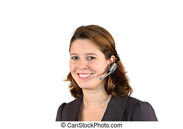 smiling beautiful young call center agent