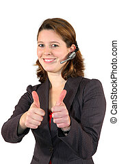 beautiful call center agent posing with thumbs up sign