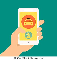 hand holding phone with taxi hire service application...