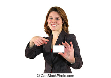 smiling business woman pointing at business card