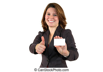 business woman showing a business card and posing with thumbs up sign