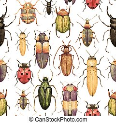 Watercolor bug beetle pattern - Beautiful vector pattern...