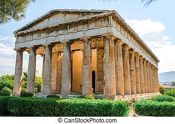 Hephaistos, templo, en, Agora, cerca, acrópolis,