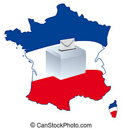 election of a government - an urn on a map of France for...