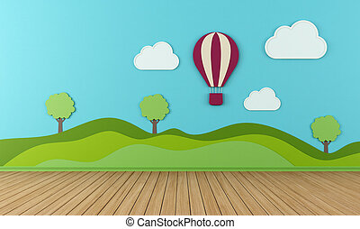 Empty Playroom - Empty child room with clouds hot-air and...