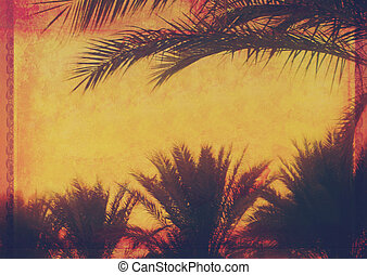 Grunge tropical background with coconut palm trees. Image in vintage style