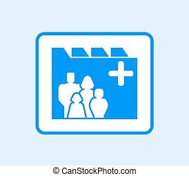 medical record icon with family - blue medical record icon...
