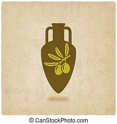 amphora with olive oil old background vector illustration -...