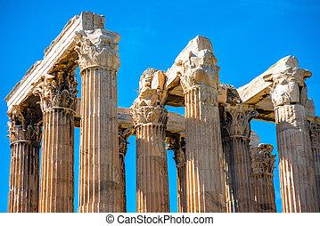 Corinthian,  zeus, Templo, colunas, Grécia