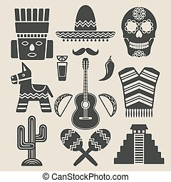 Mexico travel icons set. vector illustration - eps 8